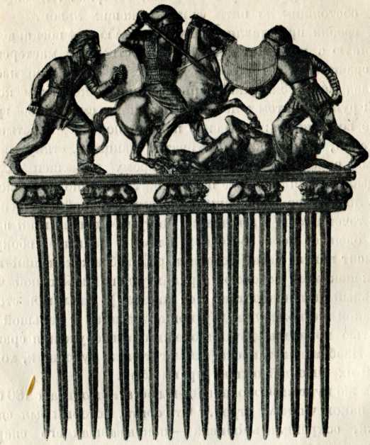Золотой гребень из кургана Солоха. Первая половила IV в. до н. э. (Эрмитаж).