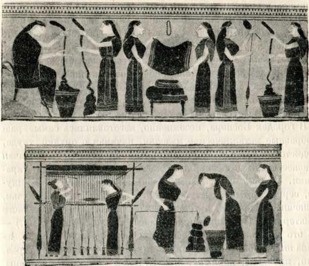 Ткацкая мастерская; рисунок на аттическом лекифе. VI в. до н. э.