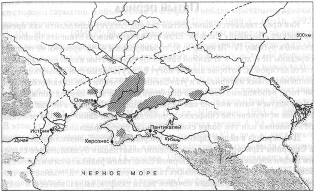 Карта-схема расселения скифов